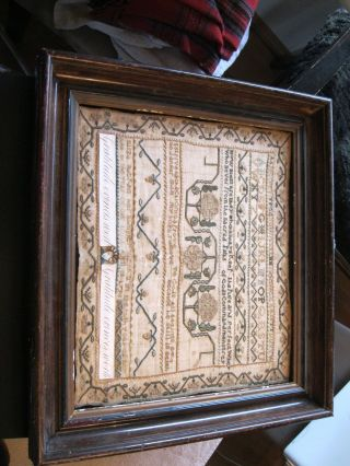 """Nores - 18thc Signed And Dated 1798 Philadelphia """" Band Sampler Group """" Needlework"""