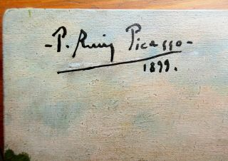 Pablo Picasso Vintage Rare Art Oil Painting Hand Signed 1899 No Print