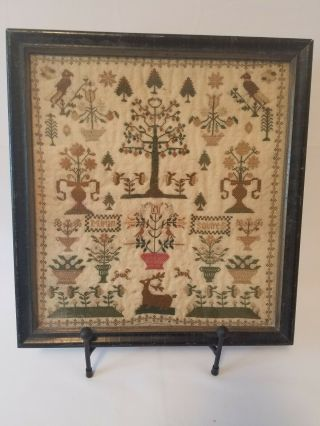 """18th Or 19th C Needlepoint Embroidered Sampler """" Miriam Squires """" Ex Skinner"""