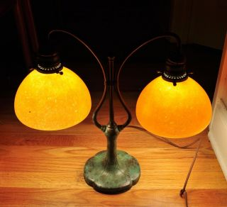 Tiffany Studios Style Bronze Base Student Desk Lamp With Two Golden Shades