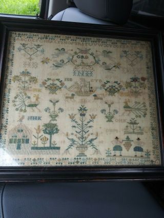 Antique C.  1808 Sampler W/ Birds Flowers Angels Boat House People Trees Dogs