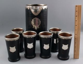 Rare Antique Arts & Crafts Gorham Sterling Copper Leather Lemonade Pitcher Cups 10