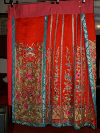 Qing Dynasty Ch Ing Dynasty Antique Chinese Red Wedding Skirt