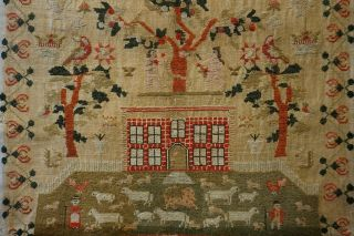 EARLY 19TH CENTURY RED HOUSE & ADAM & EVE SAMPLER BY SARAH SYKES AGED 10 - 1828 10