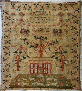Early 19th Century Red House & Adam & Eve Sampler By Sarah Sykes Aged 10 - 1828