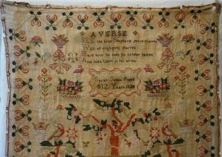 EARLY 19TH CENTURY RED HOUSE & ADAM & EVE SAMPLER BY SARAH SYKES AGED 10 - 1828 2