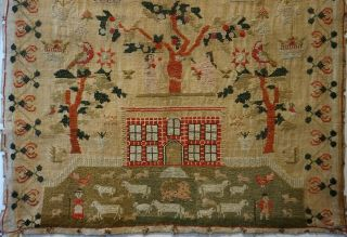 EARLY 19TH CENTURY RED HOUSE & ADAM & EVE SAMPLER BY SARAH SYKES AGED 10 - 1828 3