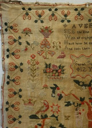 EARLY 19TH CENTURY RED HOUSE & ADAM & EVE SAMPLER BY SARAH SYKES AGED 10 - 1828 4