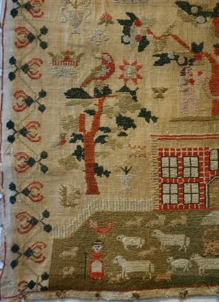 EARLY 19TH CENTURY RED HOUSE & ADAM & EVE SAMPLER BY SARAH SYKES AGED 10 - 1828 6