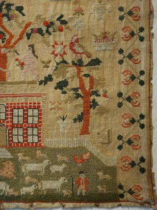 EARLY 19TH CENTURY RED HOUSE & ADAM & EVE SAMPLER BY SARAH SYKES AGED 10 - 1828 7