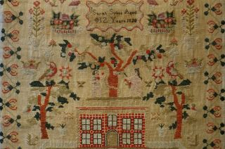 EARLY 19TH CENTURY RED HOUSE & ADAM & EVE SAMPLER BY SARAH SYKES AGED 10 - 1828 9