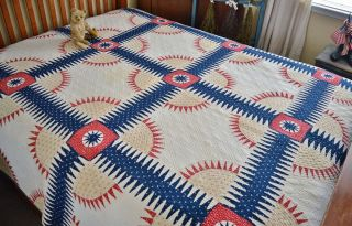 Antique 1850s Hand Stitched American York Beauty Quilt Aafa