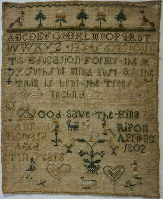 Small Early 19th Century Education & Motif Sampler By Ann Howard Aged 10 - 1802
