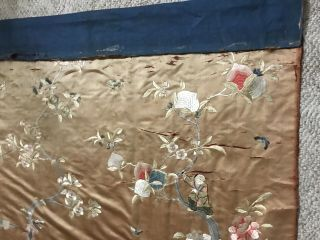 Large Antique Chinese Silk Embroidered Tapestry Panel 80