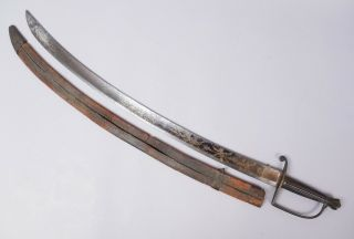 Antique American Early 19c Lemuel Wells Ny Gilded Etched Sword,  Leather Scabbard