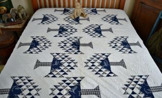 Antique Hand Stitched 1800s Tree Of Life Quilt Rare Blue