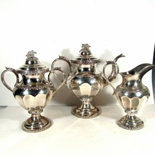 3 Piece C1850 Lows Ball & Co Pa Coin Silver Tea Set Belonging To Daniel Webster