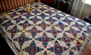Antique Early 1800s Hand Stitched Log Cabin Calico Windmill Blades Quilt