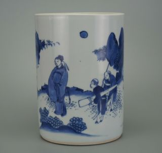 A Large Size Chinese Blue And White Porcelain Vase Brush Pot