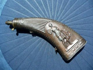 "Rare And Unique Horn Shaped "" Diana The Huntress "" Powder Flask - France 1830`s"