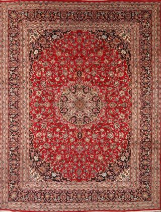 Persian Floral Rug Hand - Knotted Oriental Traditional Carpet 10 X 13