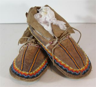 1920s Pair Native American Shoshone Indian Bead Decorated Hide Moccasins Beaded