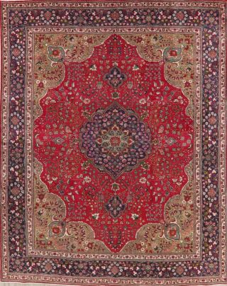 Vintage Persian Area Rug Red Geometric Hand - Knotted Oriental Wool Carpet 10x13
