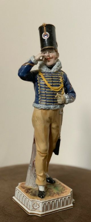 Antique Military Soldier Porcelain Figurine Fourrier Dull.  Hussards