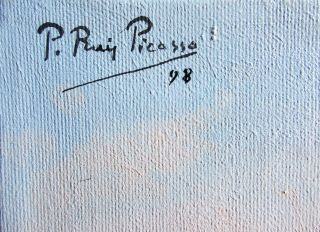 Pablo Picasso Vintage Rare 1898 - Oil On Canvas - Hand Signed No Print