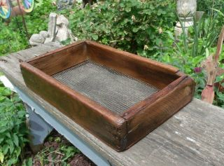 Vintage Wooden Primitive Sifter Wood Old Rustic Country Decor Cabin