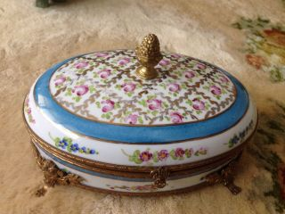 """Large Rare 8.  5 """" Antique French Hinged Hand Painted Porcelain Jewelry Box"""