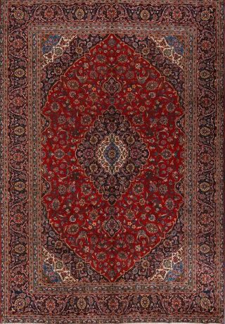 Vintage Red Traditional Floral Persian Area Rug 9x13 Hand - Knotted Oriental Wool