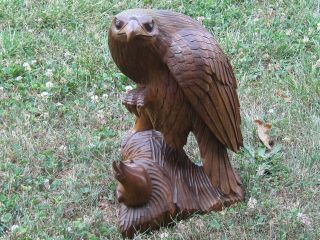 Eagle Statue Feeding Young Eaglet Masterfully Crafted Hand Carved Huge Vintage