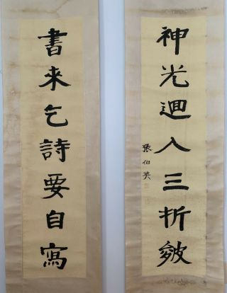 "Large Chinese Scroll Painting - 100 Hand Writing Calligraphy 87x20"" Each."