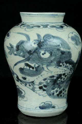 Jun082 Korean Late Joseon Blue&white Porcelain Dragon&cloud Vase Jar Vessel