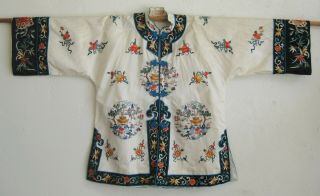 Fine Old Chinese White Silk Embroidered Imperial Court Robe