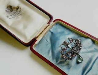 Old Russian Faberge Design 84 Silver And 56 Gold Brooch With Diamonds & Pearls
