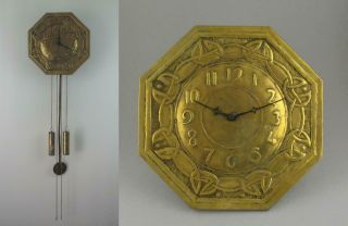 Antique Glasgow School Arts & Crafts Chiming Brass Wall Clock Margaret Gilmour ?