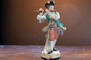 Meissen Porcelain Figure Of Flute Player From Galant Orchestra