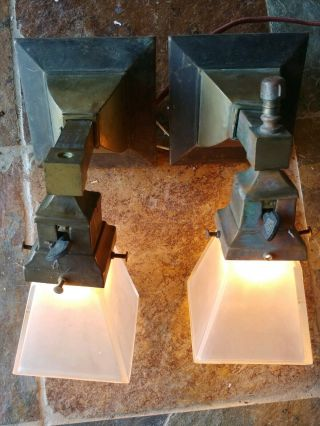 2 Antique Mission,  Arts And Crafts Sconce,  Frosted Glass Shades 30