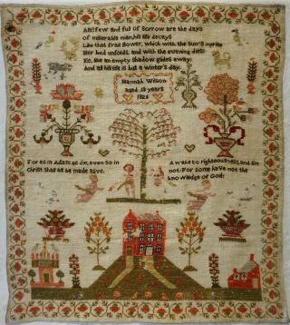 Early 19th Century Red House & Motif Sampler By Hannah Wilson Aged 13 - 1826