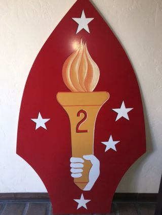 2nd Marine Division Insignia Sign 6 Feet Tall Hand Painted On Acrylic -.  Semper Fi