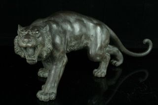 Mar001 Japanese Vintage Bronze Fierce Tiger Big Statue Figure Okimono 20kg