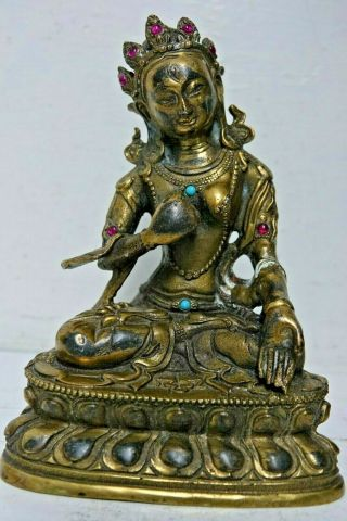 Chinese Gilt Bronze Figure Set With Jewels & Character Marks Rare