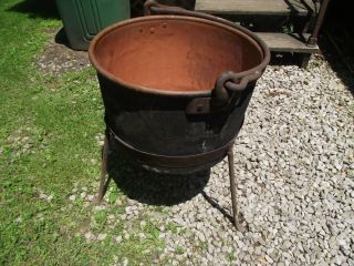 Antique Copper Apple Butter Kettle With Stand