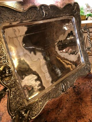 Vintage 20th Century Indian Burmese Solid Silver hand - crafted Repousse Tray 3