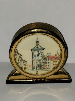 Vintage Rare Desk Clock Imhof Swiss Movement Zytglogge Face W/ Issues