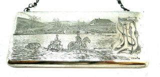 Antique Russian Imperial 84 Silver Engraved Purse Khlebnikov Moscow 1910 400 G