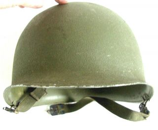 Us Ww2 M1 Helmet Front Seam Swivel Bale Shell Only W/ Chin Straps & Heat Numbers
