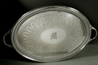English Sterling Silver Tea Set Tray 1895 William Hutton